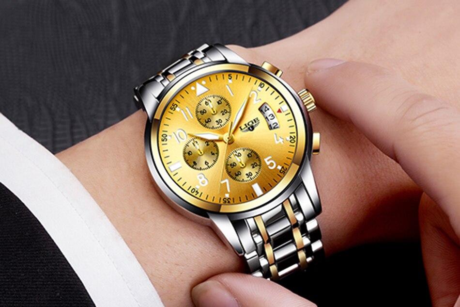 Mens Waterproof Quartz Watch LIGE Top Brand Luxury Casual Watches