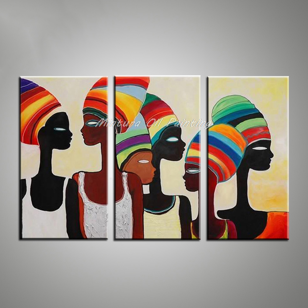Mintura Art Decorative Wall Painting African Woman Paintings Modern Abstract Oil Painting Canvas Pictures for Living