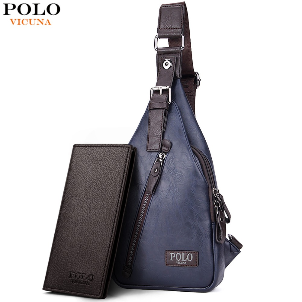VICUNA POLO Famous Brand Theftproof Magnetic Button Open Leather Mens Chest Bags  Fashion Travel Crossbody Bag 307dad8dd02ff