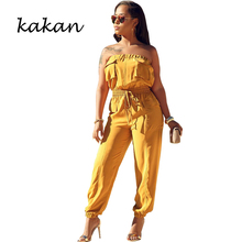 Kakan spring womens jumpsuit word collar strapless wrapped chest yellow light blue orange