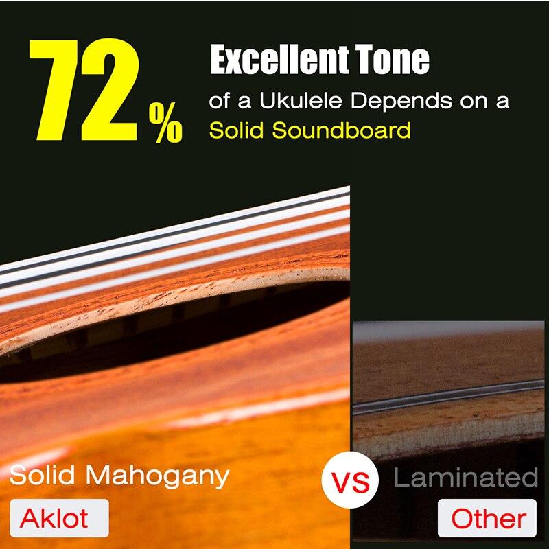 Aklot ukulélé électrique en acajou massif avec vidéo en ligne Ukelele Soprano Concert ténor Uke 4 cordes guitare avec sangle accordeur de cordes - 3