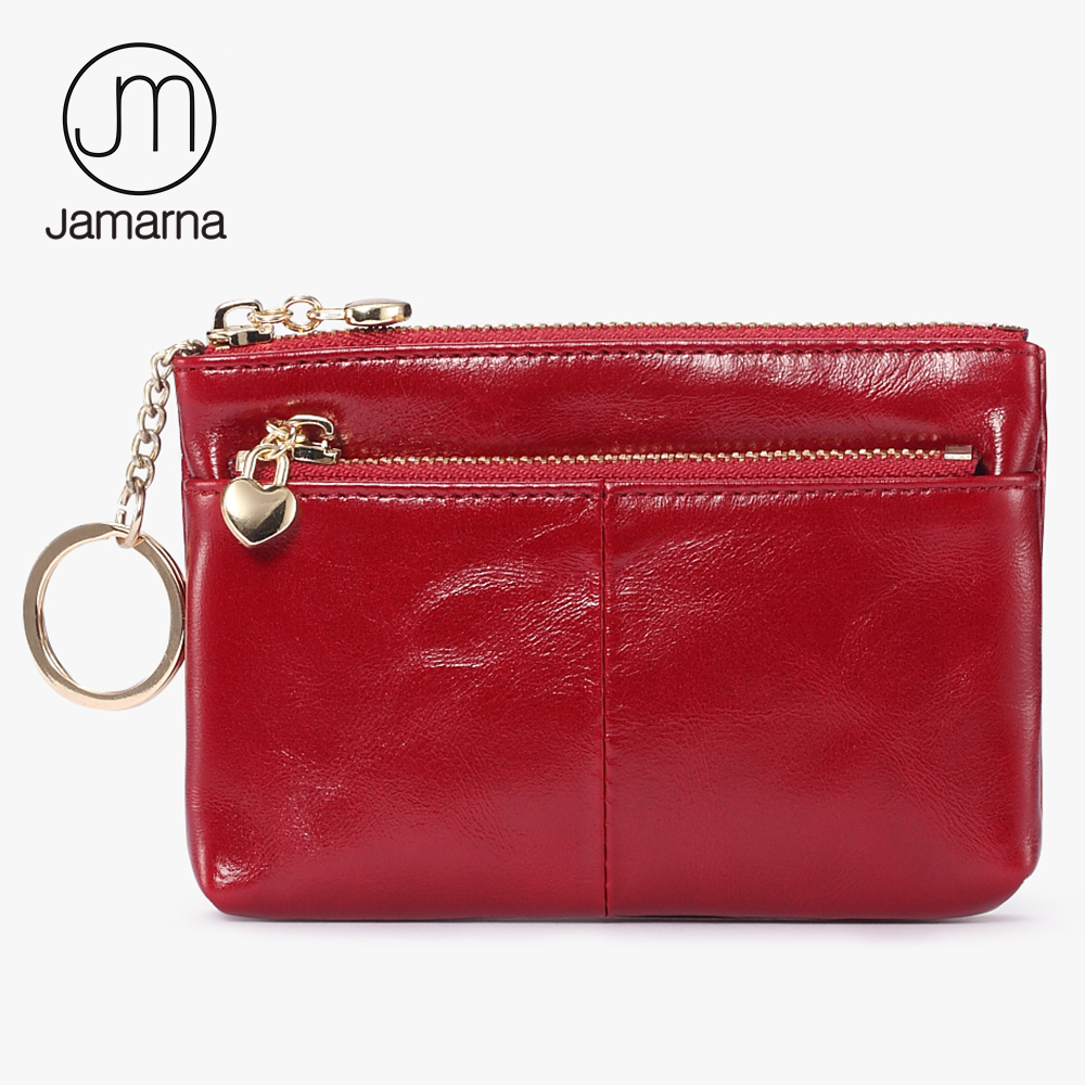 Jamarna Women Coin Purse Genuine Leather Oil Wax Female Card Holder Red Coin Organizer Key Pouch Small Coin Purse Wallets New