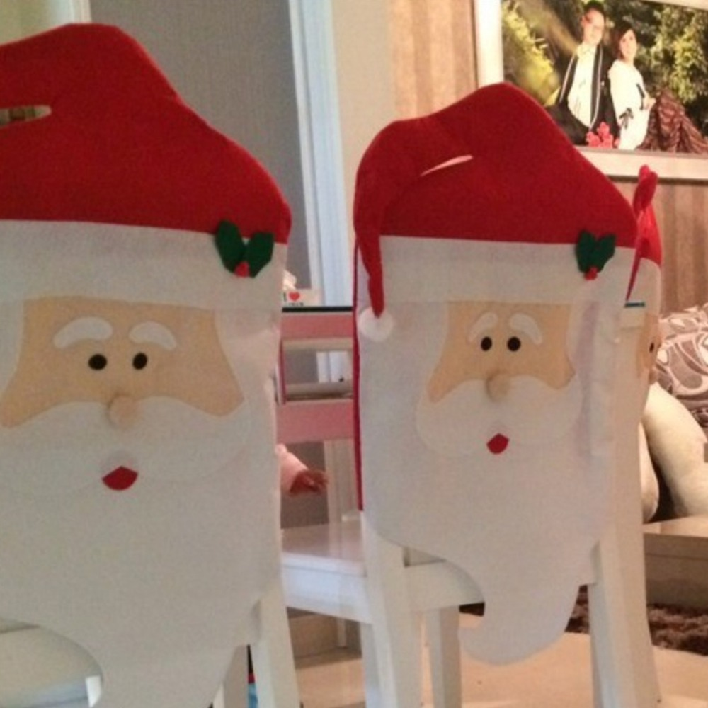 1PC Lovely Mr & Mrs Santa Claus Christmas Dining Room Chair Cover ...