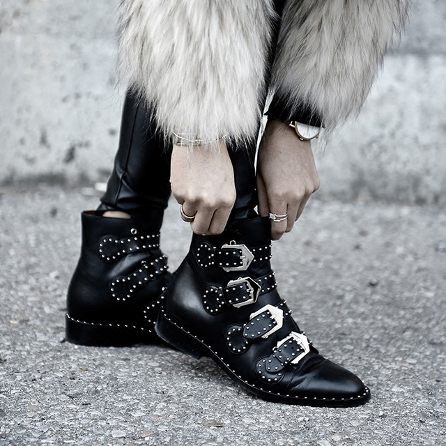 4f5f75e8f3 US $87.42 40% OFF|Black Studded Multi Buckle Leather Ankle Boots Winter  Design Outfit Fashion Flats Chic Runway Celebrity Shoes Woman Combat  Boots-in ...
