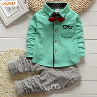 IAiRAY Brand New 2017 Spring 2pcs Baby Boy Clothing Set Boys Clothes Long Sleeve Cotton Shirt