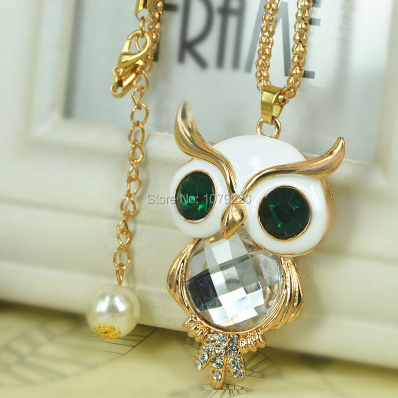 Z White Owl Sweater Necklace Jewelry Crystal For Women Long Necklace Pendants Rhinestone Chain Christma Valentines Gift