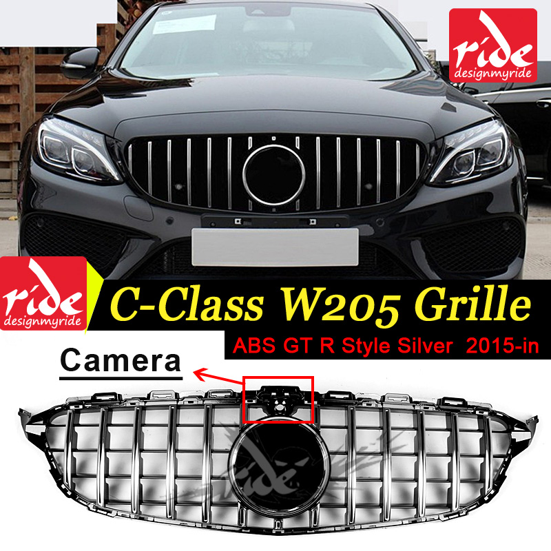 For Benz W205 Grille C-Class C180 C200 C250 C63AMG ABS GTR Style Front mesh silver Grille Tape camera Hole Mesh Radiator 2015-in решетка радиатора мерседес w 205