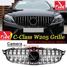 For Benz W205 Grille C-Class C180 C200 C250 C63AMG ABS GTR Style Front mesh silver Tape camera Hole Mesh Radiator 2015-in