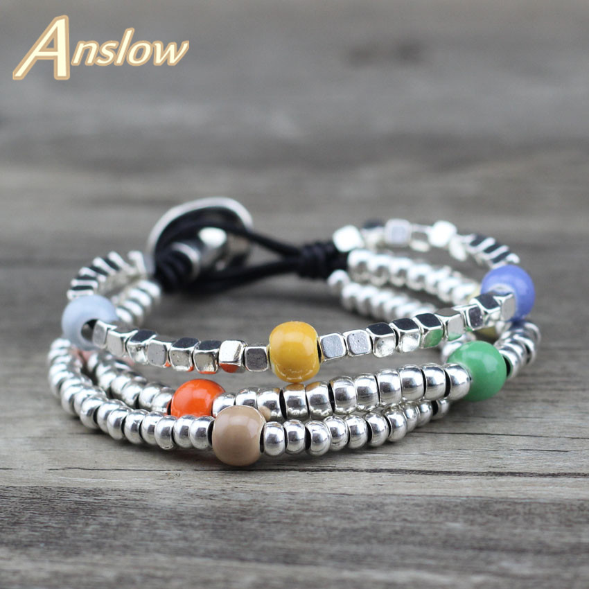 Anslow Brand Fashion Jewelry Cute Sweet Vintage Romantic Beads Handmade Leather Bracelet Korean Style Christmas Gift LOW0664LB