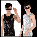 new fashion Stage costumes Sequins  Vests men's clothing ds paillette Performance vest costume tide Stage Black silver Vests