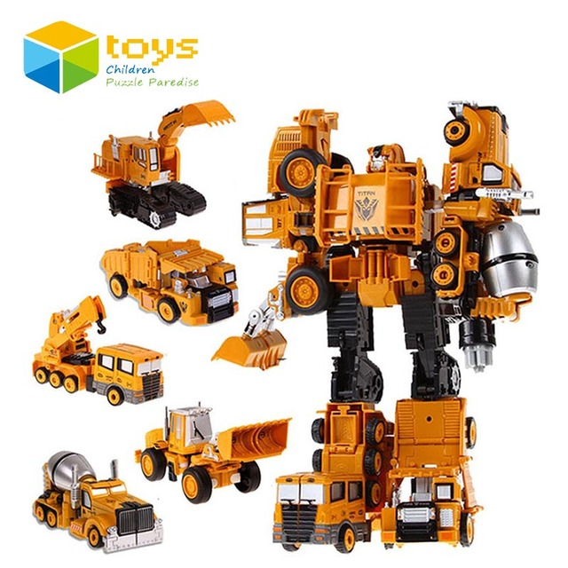 Action Figure Model Robot Toys Set for Children Kids Boys Alloy Transformation Robot Trans Mixer Truck Excavator Bulldozer Crane