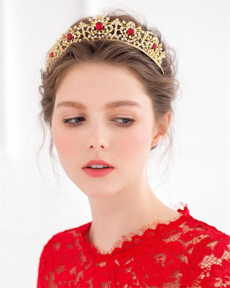 Gold Tiara Noiva Pearl Jewelry Wedding Headband Baroque