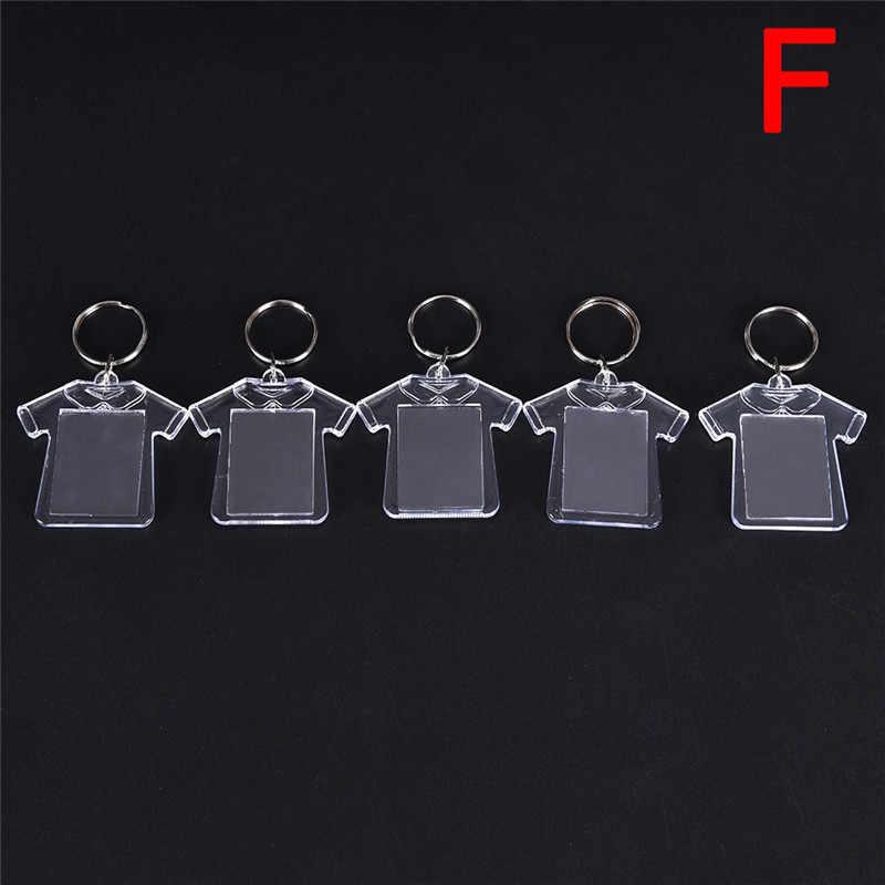 5 pçs diy anel rachado chaveiro retângulo transparente em branco acrílico inserção foto quadro chaveiro presente