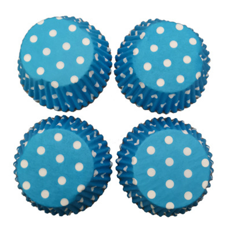 100Pcs Blue Dots Muffin Cupcake Paper Cup Oil-proof Cupcake Paper Cases Baking Liner Cupcake Paper Cup For Cake Decorating Tool