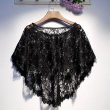 Chales de tul con encaje Floral para mujer, abrigo de bufandas, Bolero, capa de Boda nupcial, capa de noche Negra para fiesta de boda
