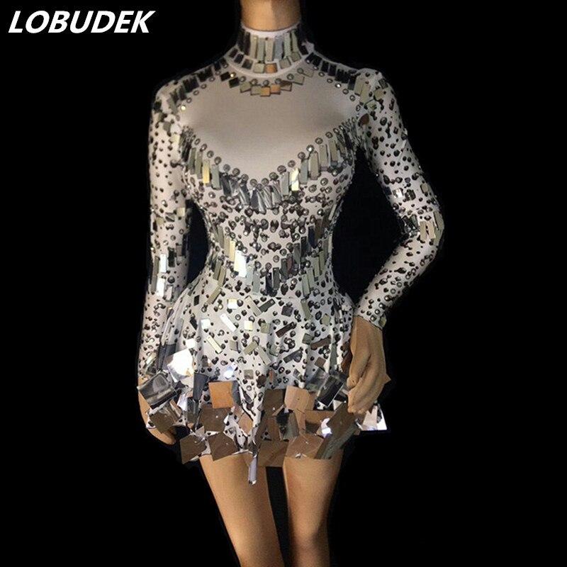 3 couleurs argent paillettes cristaux haute élastique courte robe Sexy miroirs Mini robe femme chanteuse bal de promo Performance Costume
