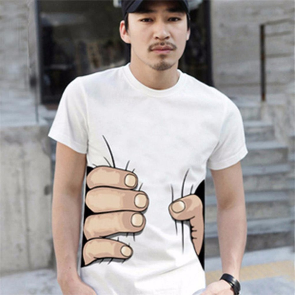 2016 Summer Brand New Mens 3D Big Hand Short Sleeve Cotton T Shirt Breathable O Neck Fashion Tops Tee Funny Tshirt homme Cheap Z Футболка