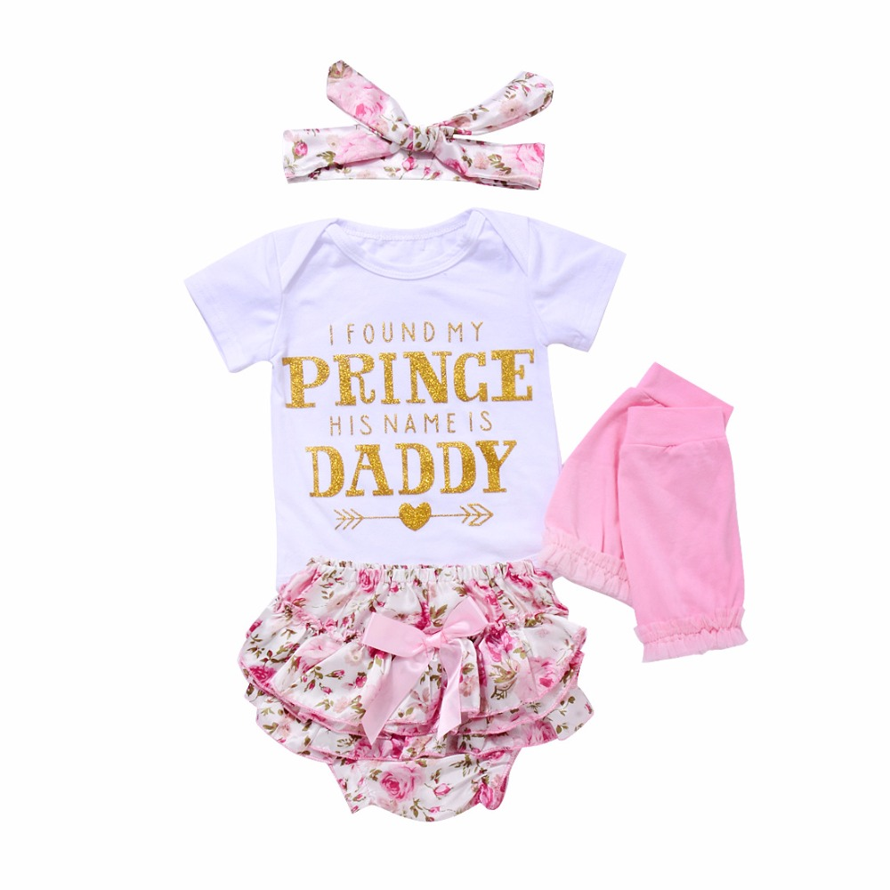Fashion baby girl clothes summer baby 4pcs set cotton baby romper+pant+sock+Headband cute newborn baby girls clothing set 3pcs set cute newborn baby girl clothes 2017 worth the wait baby bodysuit romper ruffles tutu skirted shorts headband outfits