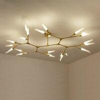Post Modern Rotatable Branch Led Chandelier Matt Black Gold Chandelier Lighting Glass Tube Shades LED Lighting