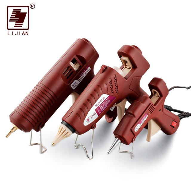 Adjustable Professional Copper Nozzle Heater Heating Wax 7mm 11mm Glue SticksLIJIAN 20W/60W/100W Hot Melt Glue Gun US/EU Plug