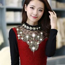 Women Beading Thickening Velvet Lace T-Shirts Tops 2017 Autumn Winter Long Sleeve T-Shirts Turtleneck Tees Shirt Women's Tops