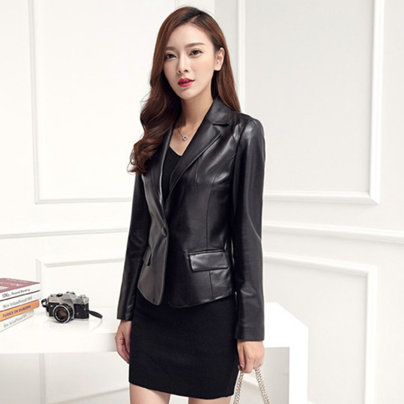 2019 New Autumn Winter Womens Genuine Leather Jacket Korean Slim Fit Single Button Outerwear Business Office