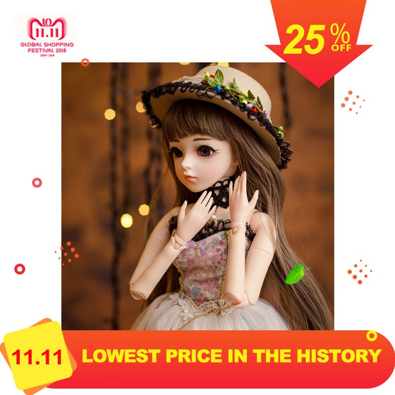1/3 BJD Girl Doll High Quality Handmade Dress With Outfit Shoes Wig Hat Makeup Dolls Silicone Reborn BJD Doll Christmas Gift christmas faux fur fitted velvet short party dress with hat