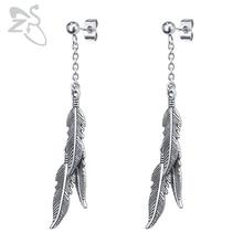 ZS 1 Pair Feather Drop Earrings For Women Men Kpop Korean Earrings Brincos Tassel Earring Stainless Steel Long Dangle Pendientes pair of stylish tassels feather earrings for women