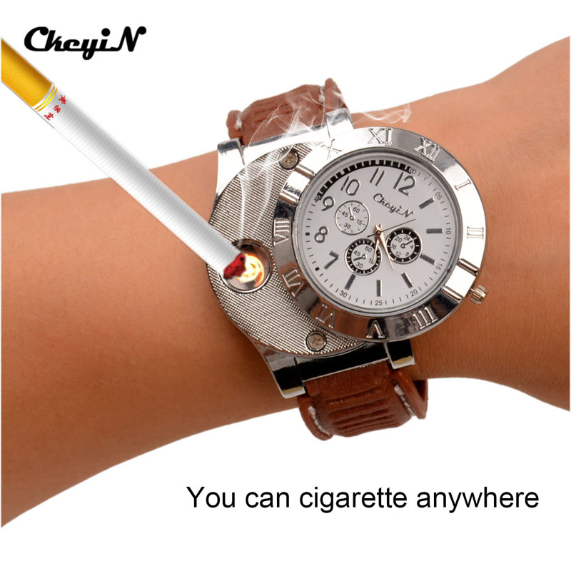 5Pcs/Lot Military USB Charging Lighter Watch Men's Casual Quartz Wristwatches with Windproof Flameless Cigarette Lighter 4849 lighter watch men s sports casual quartz watches with leather strap windproof flameless cigarette lighter usb charging f665