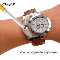 5Pcs/Lot Military USB Charging Lighter Watch Men's Casual Quartz Wristwatches with Windproof Flameless Cigarette Lighter 47