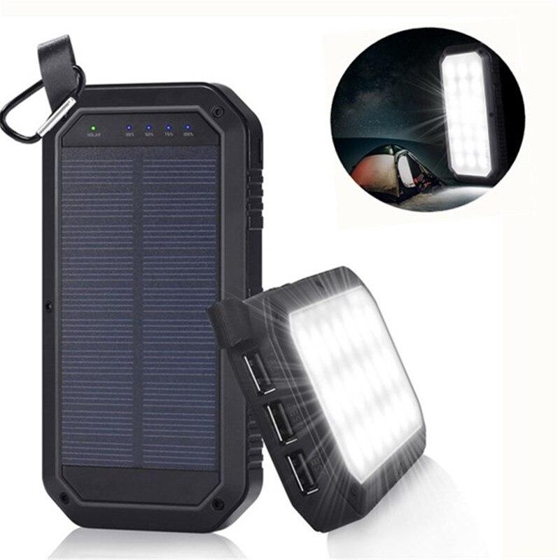 Mising 21 LED 8000 mAh portátil de energía Solar de luz de Camping 3 Banco de energía móvil USB para iPhone/ipad/ android
