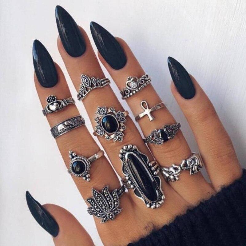 11pcs/set Silver ring Bohemian Vintage Crown Flower Heart Lotus Black Stone Animal Cross Joint  Jewelry Rings Set for women