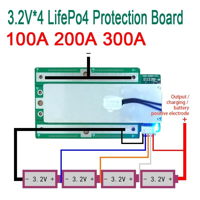 4 S 100A 200A 300A 3.2 V LifePo4 Lithium fer Phosphate panneau de Protection 12.8 V haut courant inverseur BMS PCM moto voiture démarrage