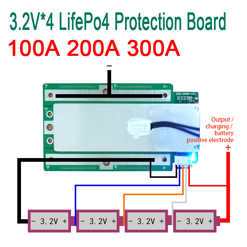 4S 100A 200A 300A 3.2V LifePo4 Lithium Iron Phosphate Protection Board 12.8V High Current Inverter BMS PCM Motorcycle car start