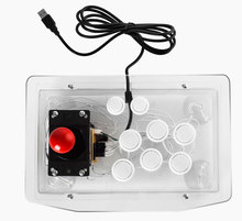 Arcade game joystick wired USB gamepad street fight game controller with black acrylic panel pink&yellow buttons for computer PC