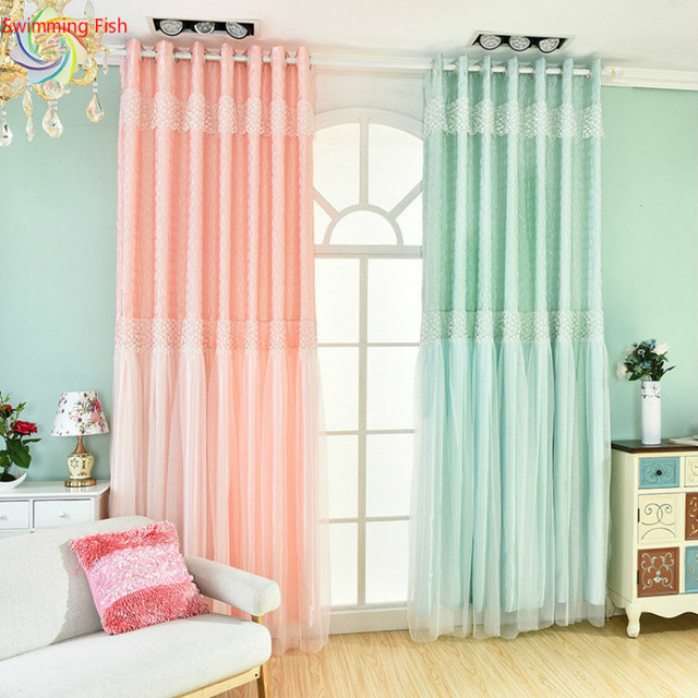double layer curtains living room lace finished curtains beautiful greenpinkpurple stitching double layer semishaded
