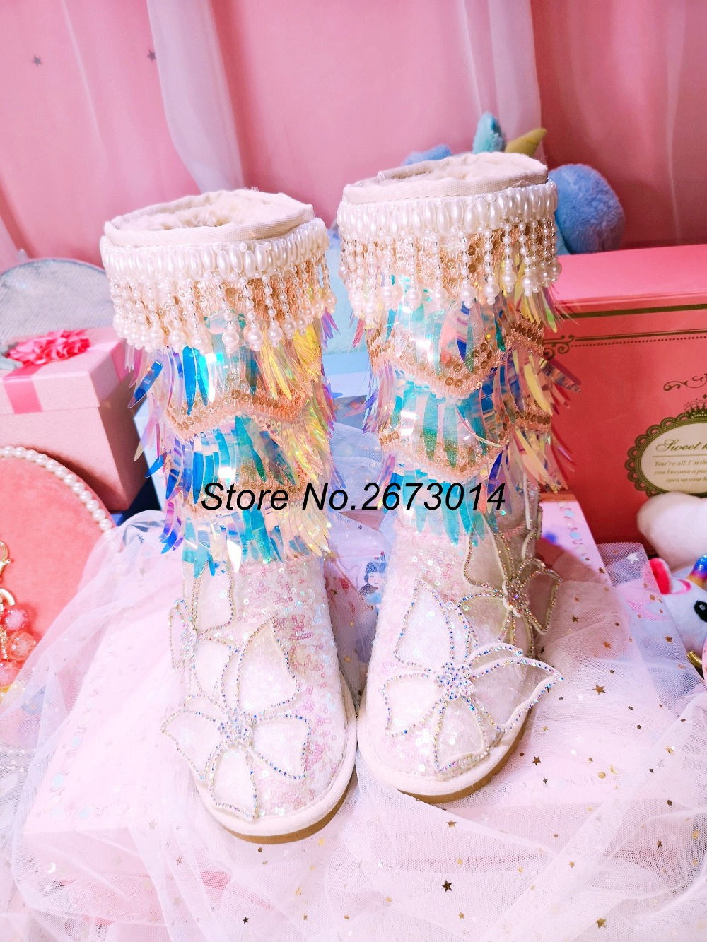 Sequined Boots Women Bling Tassel Pearl Sweet Snow with Bowknot Decor Winter 2019 New