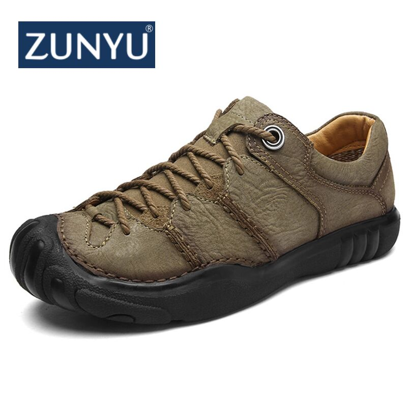 ZUNYU New Genuine Leather Men Shoes Comfortable Casual Shoes Men Fashion Breathable Flats Men Trainers sneakers