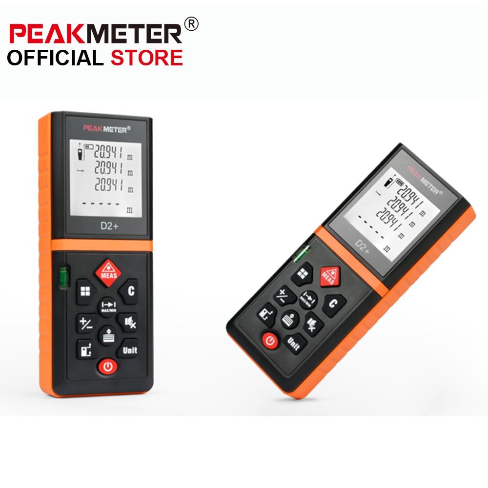 New 2017 PEAKMETER D2+ Laser Distance Meter Laser Rangefinder Laser Tape Range Finder trena ruler Diastimeter Measure Roulette m046 new laser guide ultrasonic distance measure range finder 15m mastech ms6450
