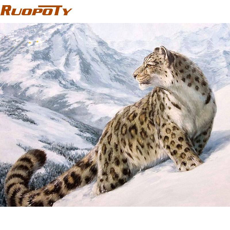 RUOPOTY America Leopard DIY Painting By Numbers Handpainted s