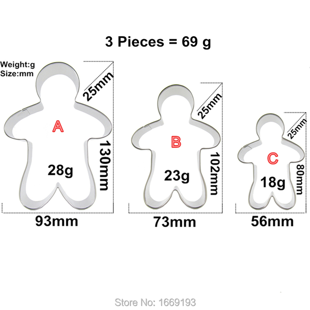 Big Middle And Small Gingerbread Man Shape Cake Decorating Fondant Cutters Tools Set,Cookie Biscuit Baking Molds,Direct Selling