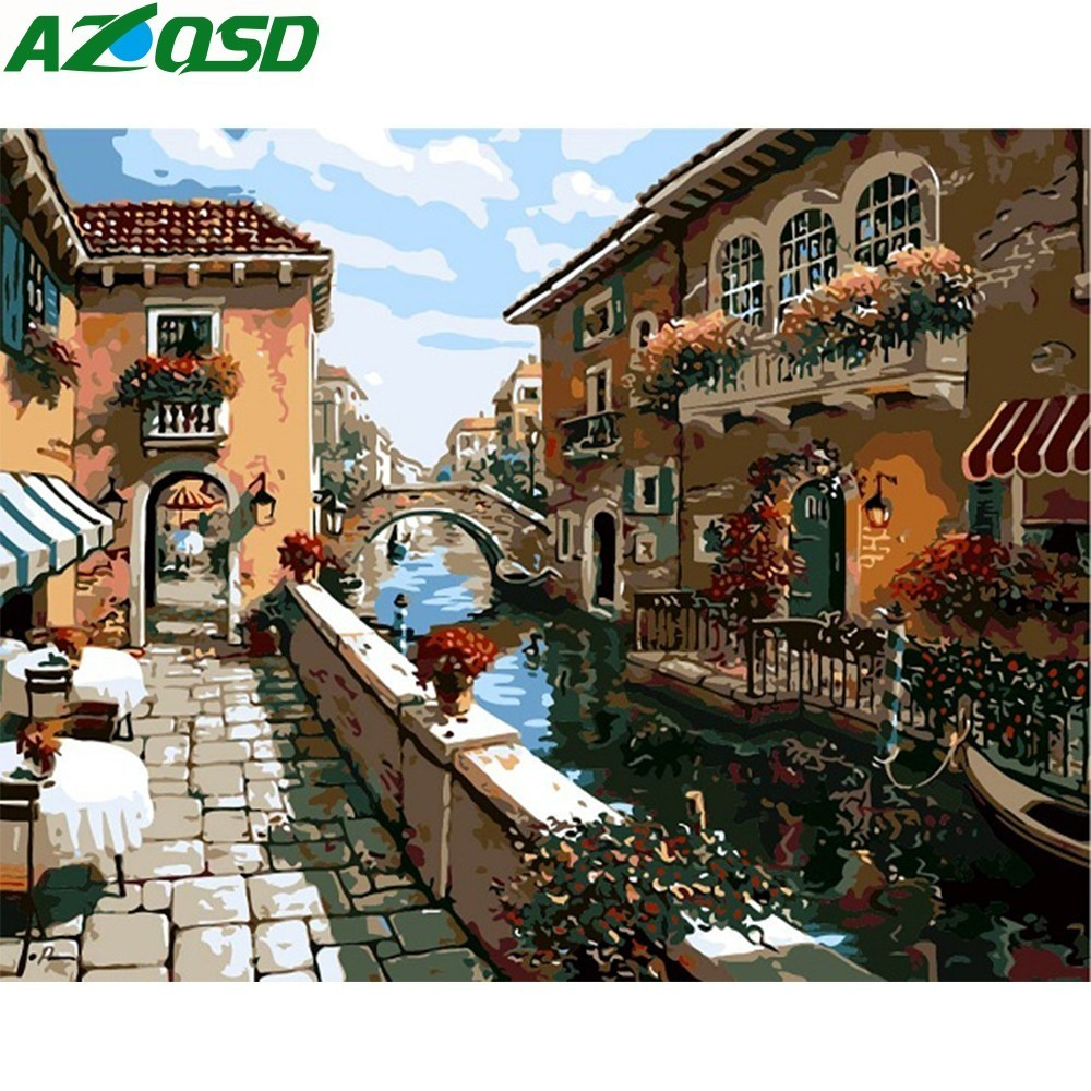 AZQSD Painting By Numbers On Canvas 40x50cm Frameless River In Old City Oil Painting Picture By Numbers Home Decor Szyh6197