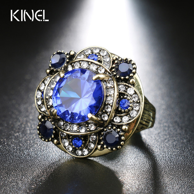 Kinel Vintage Jewelry Gorgeous Gold Color Oval Rings Empress Temperament Bohemian  Wedding Ring Womens Accessories Jewelry