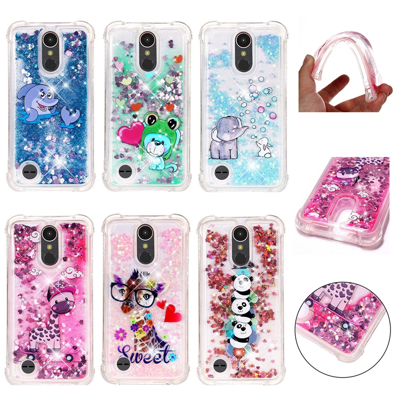 Liquid Bling Phone Case For Coque LG K20 Plus K4 K8 K10 2017 K8 K10 2018 Stylus 3 Stylo 4 V20 V30 G7 Case Soft TPU Back Cover