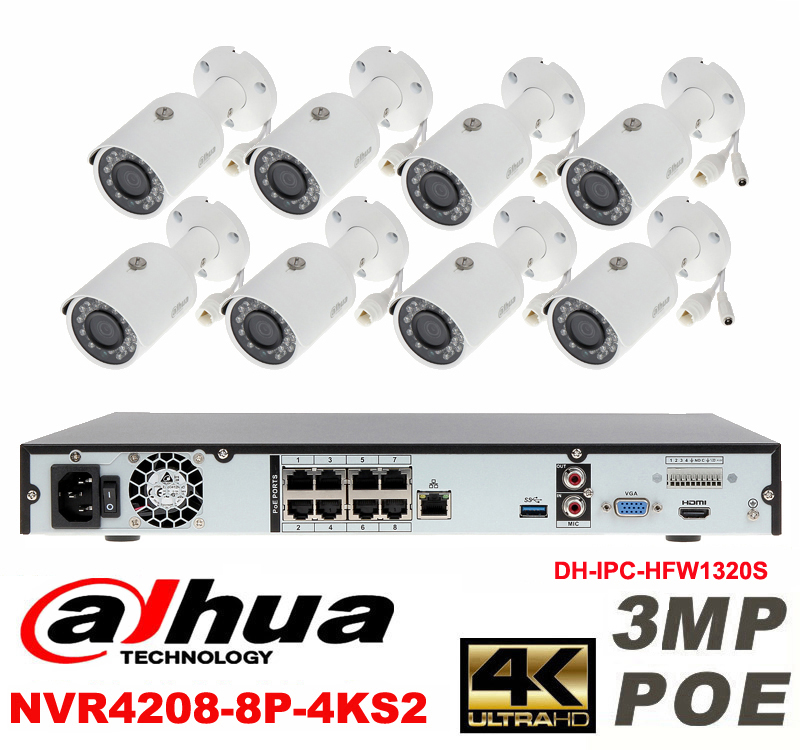 Dahua original 8CH 3MP H2.64 DH-IPC-HFW1320S 8pcs bullet IP security camera POE DAHUA DHI-NVR4208-8P-4KS2 Waterproof camera kit видеокамера ip dahua dh ipc hdbw2220rp zs 2 7 12мм 1 2 8 1984x1225