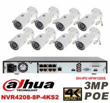 Dahua original 8CH 3MP H2.64 DH-IPC-HFW1320S 8pcs bullet IP security camera POE DAHUA DHI-NVR4208-8P-4KS2 Waterproof camera kit