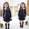 Crianças & vestido da menina crianças Inglaterra Estilo Bowknot Falso Duas Peças One-pedaço da menina Vestidos de Festa longo-vestido de manga para a menina vestidos