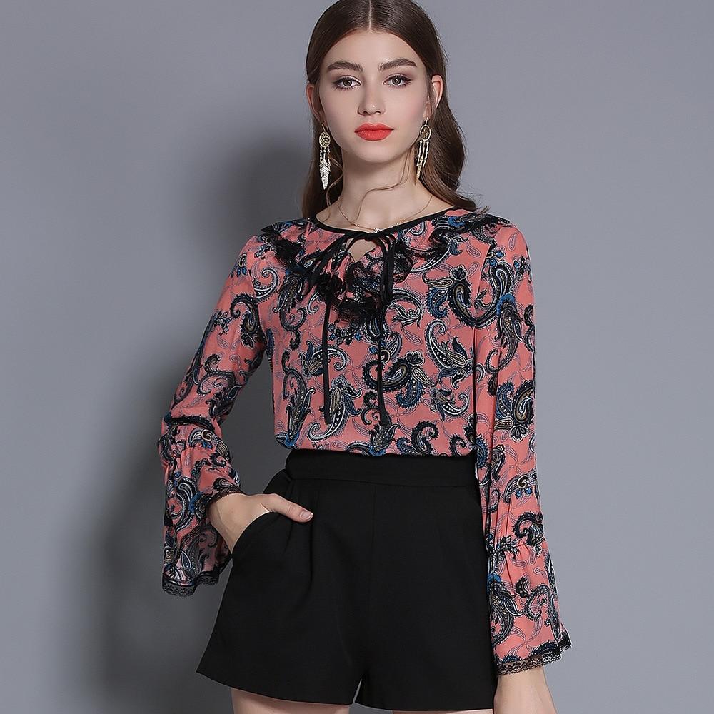 100% soie Blouse chemise femmes col en v Vintage imprimé Flare manches bleu rose Blouse dames décontracté chemise Blusas Femininas 2019 printemps - 4