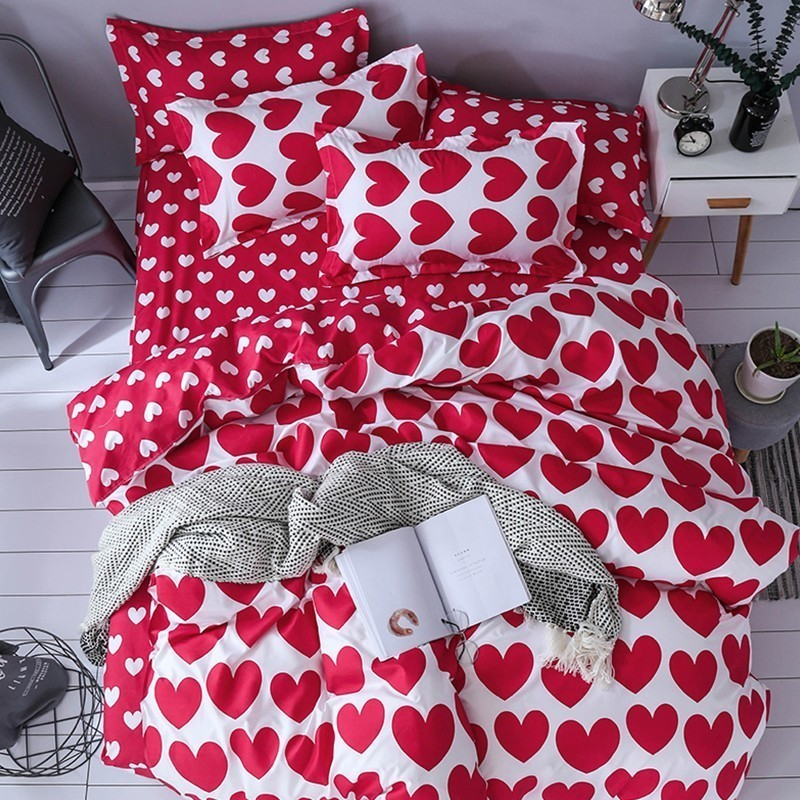 3D Home Textile Fashion Bedding Sets Girl Adult Teen Linens Red Heart Fashion Duvet Cover Pillowcase Flat Bed Sheet Queen