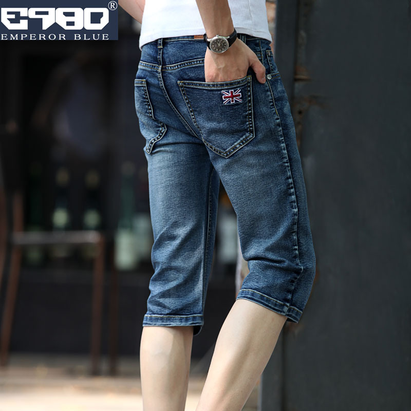 Top Quality 2020 Fashion Summer Washing Embroidery Calf-Length Pants Denim Biker Breeches Hip Hop Cowboy Teenagers Capri Men